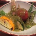 蕎麦切り 酒 大愚 - 夏野菜の緑ソース