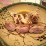 蕎麦切り 酒 大愚 - 姫っ子地鶏と千住ネギの炭火焼き
