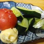 115173115 - 冷トマト・胡瓜200円