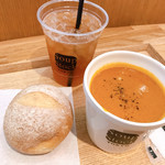 スープストックトーキョー - レギュラーカップセット オマール海老のビスク 石窯パン アイス花いろ烏龍茶