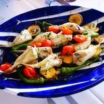 115181617 - フグのアクアパッツァと焼き野菜 バジリコオイルと