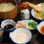のらや - 釜揚げ三昧うどんと穴子の天ぷら盛り合わせ