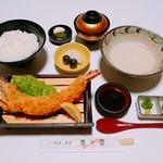 魚々屋 - とろろ汁とジャンボ海老フライ定食