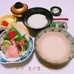 魚々屋 - とろろ汁と刺身盛合せ定食