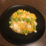四川料理 天華 - トウモロコシ、枝豆、イカの炒め