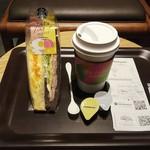 スターバックスコーヒー - ドリップコーヒーとエッグ&ハムチーズサンドイッチ (税込)874円 ※コーヒー開封前 (2019.09.09)