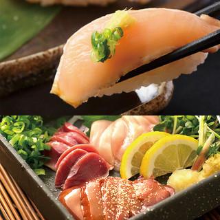 新鮮な鶏のお刺身・握り寿司が大人気!!