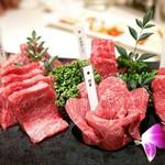 nikushouiyasaka - ✦特選ハラミ5種盛り合わせ             (ランプ、カメノコウ、トモサンカク、イチボ、ダキ)