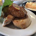 115312432 - ロティサリーチキンと里芋と蓮根の西京みそ焼き