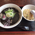 鶏白湯専門店 五星村 - 黒鶏白湯+半チャーハン
