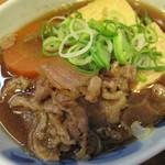 天神 わっぱ定食堂 - 結構甘い醤油味の肉豆腐。生卵が付いており、すきやき風に浸けたり、TKGでも♪