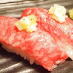 東京渋谷 炭火串焼 鳥横 - 黒毛和牛の肉寿司
