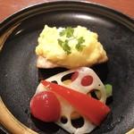 Dining&Bar さがん - かんぱちのポテト焼き^^お野菜が色鮮やか〜♪