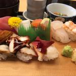 寿司 海鮮 山陰浜田港 - ・(343鮨特製)ネタ2枚重寿司定食[8貫]