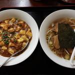 弘福 - 叉焼刀削麺と麻婆丼