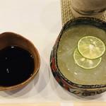 寿司割烹・難波 - 自家製作りたての葛きり 黒蜜添え