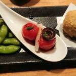 きんぼし - 季節の一品 茶豆・トマト・ポルチーニ茸のクリームコロッケ