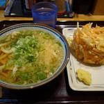 杵屋麦丸 - かけうどん390円+野菜かき揚げ150円