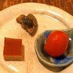 東白庵かりべ - 前菜  茄子の辛子酢味噌漬、トマトの甘酢煮、鴨の煮こごり