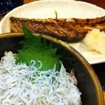 こし乃 - 鯖の西京漬け焼き定食&しらすトッピング(特注)