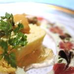 鉄板焼き ステーキ 湛山 - ホタテの貝柱のテリーヌ、フォアグラとほうれん草のパテ