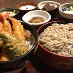 海山亭いっちょう - ミニ海老三本天丼セット(1050円)