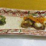 板前料理いち川 - ふぐの焼き物カラスミ仕上げ
