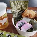 上野動物園 バードソング - 冷やし鶏天うどんとビール