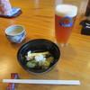 盛絽屋 - 料理写真:「よなよなエール」・お通しの「野菜天ぬき」
