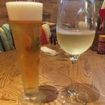 ピアンタ - ランチビール(300円)とグラスワイン(350円)