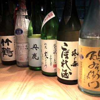 日本酒は、こだわりの無濾過生原酒を揃えております。