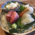 Chimatsushima - 刺身 はぜ、ぼたん海老、メバチマグロ、マダコ、鯨の湯引き
