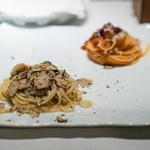 ジャッジョーロ銀座 - 仔羊のラグー、ペコリーノチーズ。  クリームベースにバター、にんにく、 静岡県産のマッシュルーム