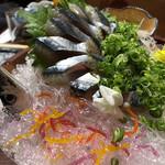Kyoudoryouritakenoko - 秋刀魚のお造り。まだ脂がそんなにのってないから細いよとは言われたけど、美味しかったなー