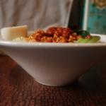 鶏家 バードメン - 汁なし鶏坦々麺(大盛) 横から