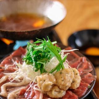 串揚げの〆はあっさり鴨鍋