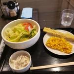銀座木挽町うどん 太常 - 野菜サラダうどんと天ぷら