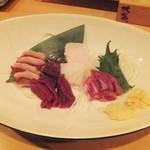 炊き餃子・手羽先 オクムラ - 熊本産馬刺し希少部位満載の五点盛り