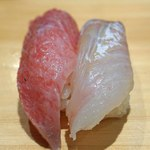 新宿栄寿司 - 鮪の大トロ と 平目