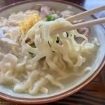 高江洲そば - ゆしどうふそば 麺アップ