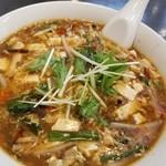 張広東飯店 桜園 - 夜でもランチセットの黒酢酸辣湯麺