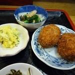 家紋 - クリームコロッケ・サラダ・お浸し