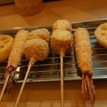 マンヨシ - 串揚げ(れんこん えび 竹輪チーズ)