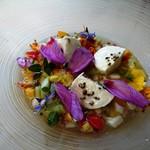 115869632 - この美しさ(ΦωΦ)正に目でも食べられる野菜とモッツァレラチーズの冷製スープ