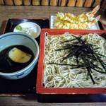 115877547 - 天ざる!淡い色の蕎麦と天ぷらに対象的な濃いそばつゆ。
