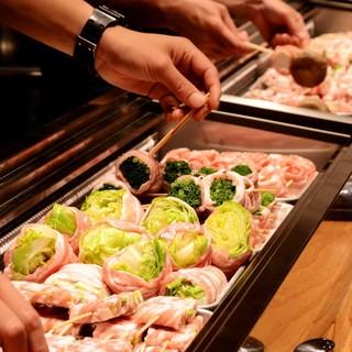 ●新鮮野菜を豚バラ肉で巻き上げた野菜巻き串♪