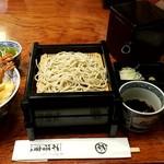 神田 本陣房 - 名物 大海老天丼 二段重ねそば:1,200円