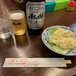 ひれとんかつの店 とん文 - 瓶ビール+ポテトサラダ