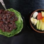 岡女堂菓子司舗 - 宇治金時と白玉みつ豆の上からバージョン