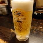 115967177 - 2019年8月 晩酌セットB(日田ホルモン炒め+生ビール中) 400円